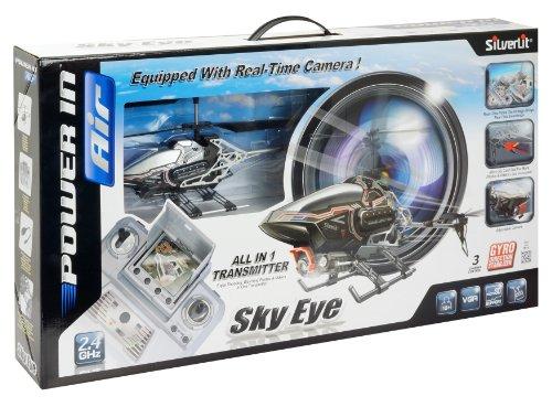 84602 Silverlit Sky Eye ferngesteuert 3-Kanal Helikopter 2.4GHz mit Gyro + Kamera für Video bzw. Bilder + Display in Fernbedienung für Echtzeitübertragung ca. 33cm, farblich sortiert - 8