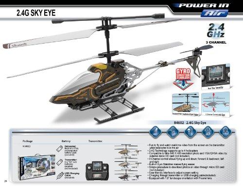 84602 Silverlit Sky Eye ferngesteuert 3-Kanal Helikopter 2.4GHz mit Gyro + Kamera für Video bzw. Bilder + Display in Fernbedienung für Echtzeitübertragung ca. 33cm, farblich sortiert - 9