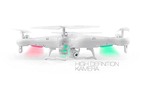 Syma X5C EXPLORER (Forscher) Weiße Sonder-Edition mit Zusatz-Akku und HD Kamera mit Tonaufzeichnung - 3D Quadrocopter Drohne, mit Motor-STOPP-Funktion & Akku-Warner, 360° Flip Funktion, 2.4 GHz, 4-Kanal, 6-AXIS Stabilization System - 2
