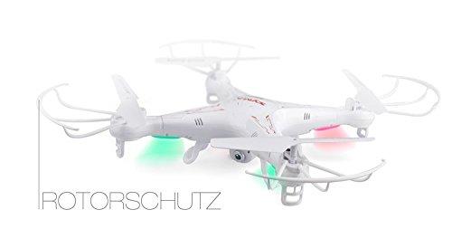 Syma X5C EXPLORER (Forscher) Weiße Sonder-Edition mit Zusatz-Akku und HD Kamera mit Tonaufzeichnung - 3D Quadrocopter Drohne, mit Motor-STOPP-Funktion & Akku-Warner, 360° Flip Funktion, 2.4 GHz, 4-Kanal, 6-AXIS Stabilization System - 5