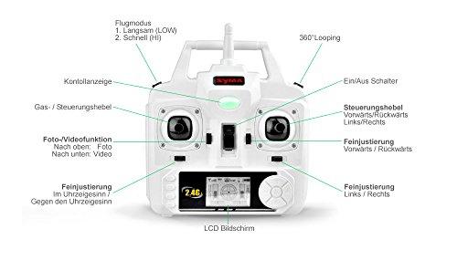 Syma X5C EXPLORER (Forscher) Weiße Sonder-Edition mit Zusatz-Akku und HD Kamera mit Tonaufzeichnung - 3D Quadrocopter Drohne, mit Motor-STOPP-Funktion & Akku-Warner, 360° Flip Funktion, 2.4 GHz, 4-Kanal, 6-AXIS Stabilization System - 6