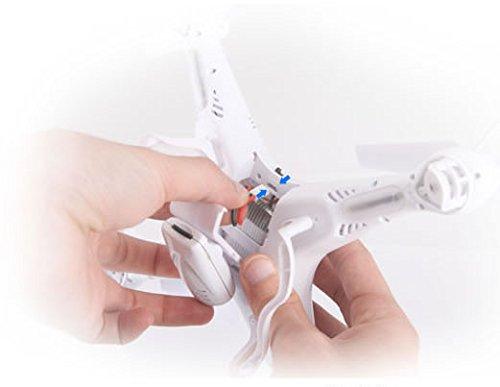 Syma X5C EXPLORER (Forscher) Weiße Sonder-Edition mit Zusatz-Akku und HD Kamera mit Tonaufzeichnung - 3D Quadrocopter Drohne, mit Motor-STOPP-Funktion & Akku-Warner, 360° Flip Funktion, 2.4 GHz, 4-Kanal, 6-AXIS Stabilization System - 7